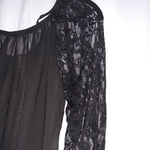 Drama Gol Tops - Black Soft Lace Blouse with Tag Like New